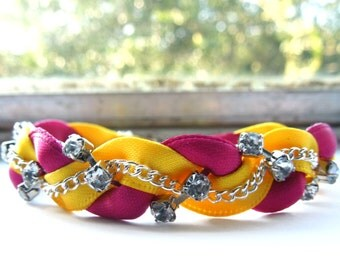 Yellow and Fuchsia Pink Braided Ribbon & Chain Bracelet