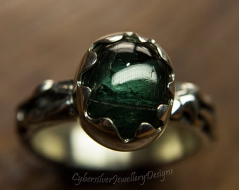 Tourmaline silver ring, organic silver ring, green tourmaline ring, forest pool ring, size R 1/2, size 9, handmade silver ring, hallmarked,