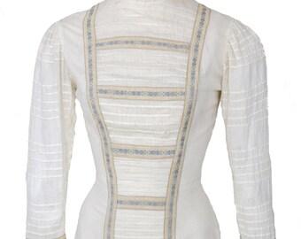 Antique Edwardian Prairie Dress / Tea Dress/ Wedding / Victorian / Embroidered /Pintucks / White Lawn //  W 24 // S/XS