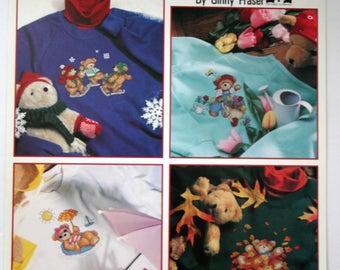"Cross Stitch book in waste canvas ""Teddies Year-Round"" seasonal bears New"