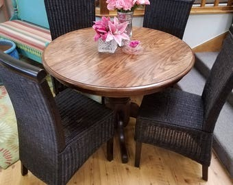 SOLD!  ** NLA!  **  SOLD!  **  Sturdy Oak Pedestal Table, Round Oak Dining Table, Breakfast Table, Rugged Oak Dining Table