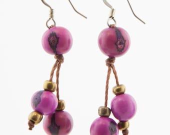 Acai Seed Earrings / Magenta Pink Earrings / Acai Seed Jewelry / Acai Earrings / Fair Trade / Seed Jewelry / Seed Earrings