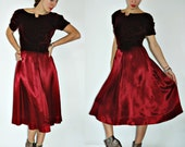 1940s / 1950s Maroon Red Velour and Satin Cocktail Dress