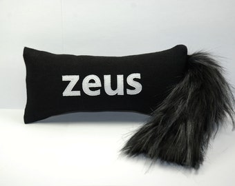 Large or Medium Dog Toy with Squeaker and Tail // Personalized Dog Toy // Denim Dog Toy with Squeaker and Faux Fur Tail