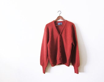 70s Cardigan / Rust Red Alpaca Knit Cardigan / Grunge / Arnold Palmer Grandpa Cardigan