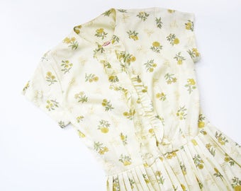 1960s Dress / Vintage 60s Floral Dress / Pastel Easter Spring Sundress / Retro Kawaii Small