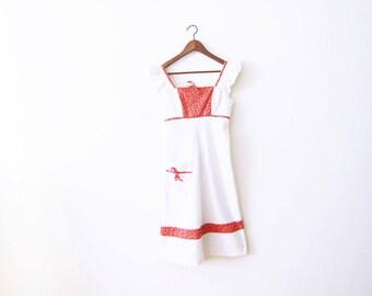 60s dress / vintage 1960s dress / white cotton sundress / boho sundress / floral / spring / hippie dress XS S