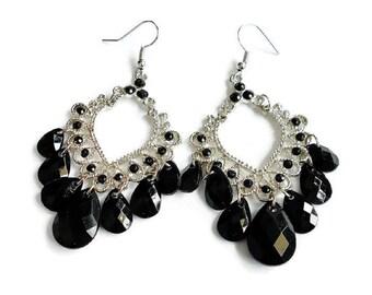 Black Bead Dangle Earrings Elegant Silver Hoops Boho Gypsy Bollywood, Vintage Retro Big Dangle Hoop Earrings