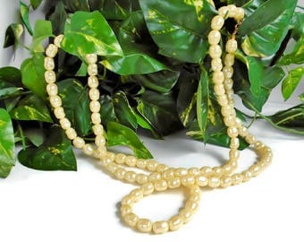 Long Beaded Necklace Vintage AVON Jewelry, Cream Color Large Faux Pearl Beads Shiny Pearlescent Oblong Plastic Bead Necklace 54 Inch