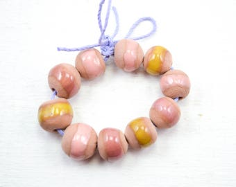 10 Handcrafted Ceramic Beads - Pastel - Unique Assortment - Earthy - Striped- Handmade - Round- Pottery beads - Brownstone - Bead Set Y459