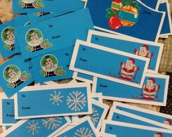 Blue Glittery Christmas Present Tags  36 Gift Enclosures Ephemera Santa Claus Snowglobe Snowflake Wrapping Accessory Retro Holiday