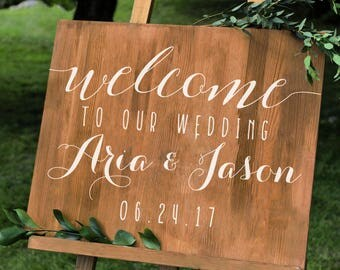 Simple Personalized Wedding Welcome Sign Names and Date Decal -Wall Custom Vinyl Stickers for Weddings, Wedding Signs, Chalkboard, Mirrors
