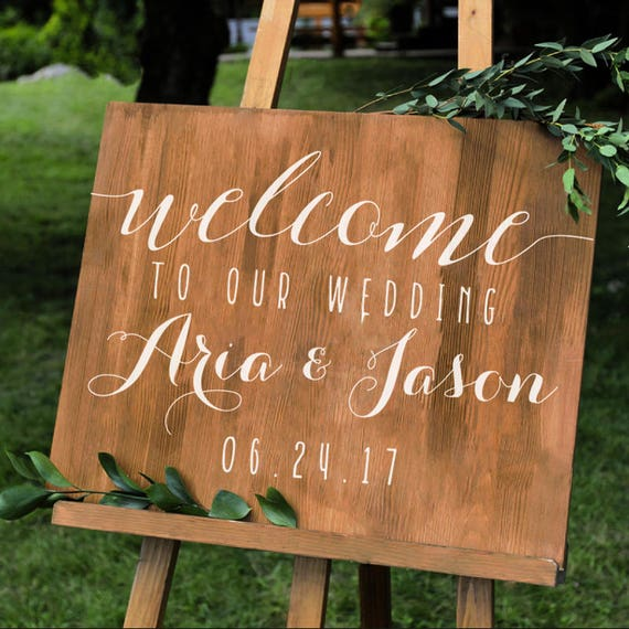 Simple Personalized Wedding Welcome Sign Names And Date Decal - Custom vinyl decals for wood