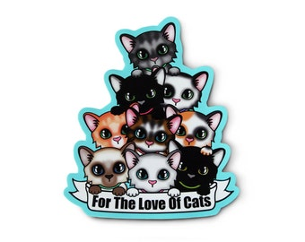 Love Of Cats Sticker - Crazy Cat Lady, Cat Lady Gift, Laptop Sticker, Kawaii Sticker, Kawaii Cats, Soft Grunge