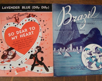 "Vintage Walt Disney Sheet Music (set of 2) ""Brazil"" from Saludos Amigos, and ""Lavender Blue"" from So Dear to My Heart.1942 and 1948."