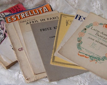 Vintage Sheet Music (lot of 11)April in Paris.Estrellita.Siboney.Mexicali Rose.Festival Fugue, J.S. Bach.German Three Dances.Latin American.