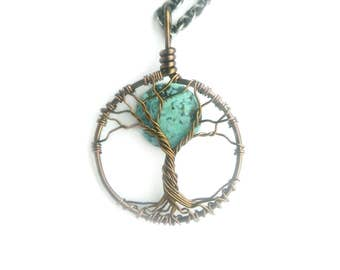 "Turquoise Mini Moon Friendship Tree of Life ""Bare Branches"" in Aged Brass and Matte Turquoise, Protection, Best Friends Necklace"
