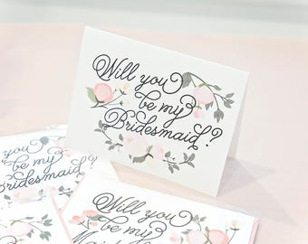 Will You Be My Bridesmaid card bridal party notecard with pretty floral flowers bridesmaid proposal