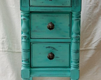 SOLD Hand Painted Teal Night Stand, End Table, Seaside Cottage, Shabby Chic