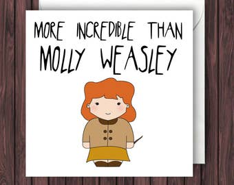 Molly Weasley. Harry Potter Mothers Day Card. Fandom Greetings Card. Funny Birthday Card. Geek Blank Card.