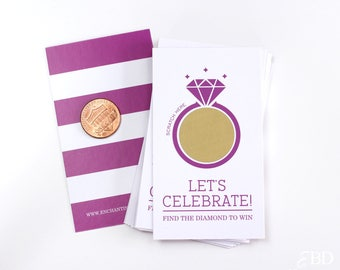 10 Purple and Gold Bridal Shower Scratch Off Cards - Bridal Shower Game - Bachelorette Party Game