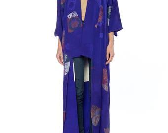 Blue Kimono With Metalic Leaf Size: Free