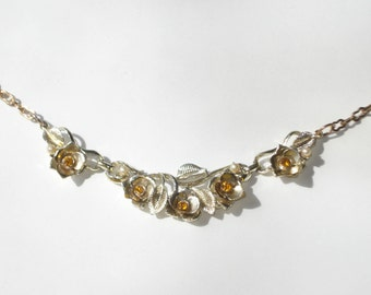 Vintage Amber Rhinestone Pearl Necklace - Crystal Jewellery - Bridal Costume Jewelry 1950s