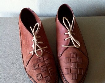tan brown leather oxfords moccasins woven, lace up. women's 8