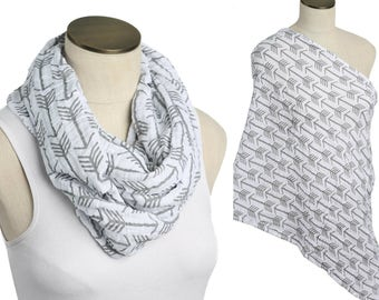 SALE! Gray Arrows on white 100% Cotton Muslin Gauze Hold Me Close Nursing Scarf, Nursing Cover, Infinity Scarf, Nursing Poncho