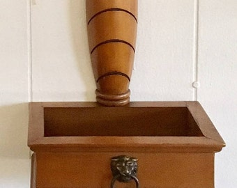 Retro Wood Wall Pocket Planter, hanging box decor, decorative wall hanging with brass accents