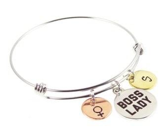 Boss Lady Hand Stamped Bracelet - Mantra Bracelet - Handstamped Jewelry - Lady Boss - Girl Boss- Gifts for Her - Expressions Bracelets