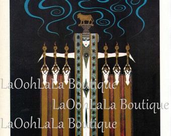 1926 Erté Fashion Illustration Digital Print Golden Calf Art Deco Ancient Egyptian Cleopatra Pharaohess Blue Incense Smoke Goddess Printable
