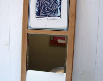 Succulent Photo Transfer Wall Mirror.  Polaroid Image Transfer Printed On Ceramic Tile. Mounted With Mirror, Framed.