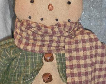 Primitive Snowman-Primitive Snowman Hanger-Snowman Ornament--tbu 1104
