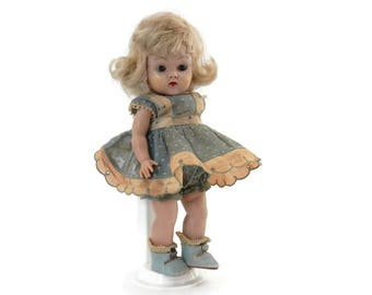 1950's Ginny Vogue Doll-All Original Blonde w/Blue Eyes Dotted Swiss Dress and Blue Oilcloth Shoes