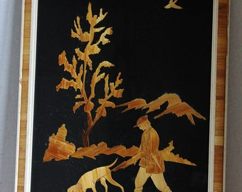 Marquetry Inlaid Wood Framed Picture - Art - Wood Veneer - Hunt Scene - Hunter with Dog - 1950s West Germany - Collectibles - Man Cave Decor