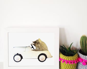 Zoom zoom - A5 digital print - collage - art print - illustration - hedgehog in a car