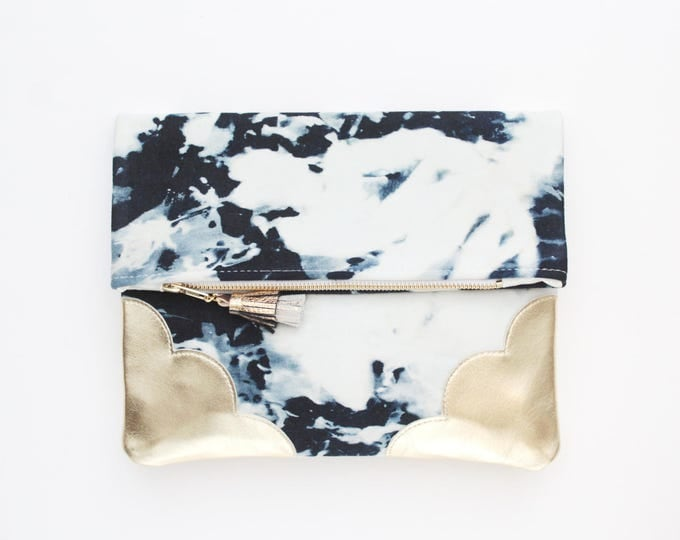 Bleached denim & Natural gold leather purse-fold over clutch bag-metallic clutch- dyed denim bag-gold leather-Ready to Ship /DELIGHT 49