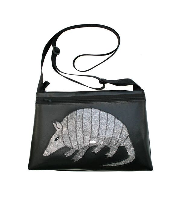 Armadillo, black vinyl, silver glitter vinyl, medium crossbody, vegan leather, zipper top