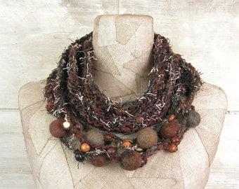 Scarf infinity necklace, boho hand knit scarf loop, knit cowl Art wrap, knitted scarves circle, felt, Bohemian clothing, Gypsy crochet shawl