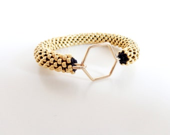 Gold Bracelet // Bracelet hexagon // Geometric Bracelet // Bracelet Honeycomb // Beaded Rope bracelet // Crochet Bead Bangle //
