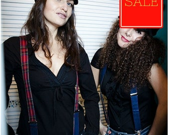 SALE 20% off, Red Womens Suspenders, Checkered Braces,  Suspenders Y-back,  Plaid Suspenders, gift for her, girlfriend gift