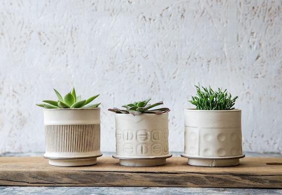 White Ceramic planter Small Ceramic Planter Succulent