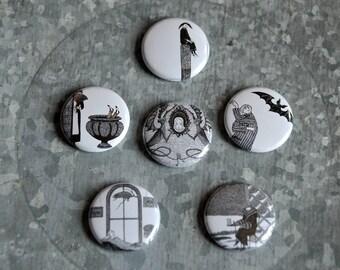 "Edward Gorey 1"" Magnet Or Pinback Button Set - Set Of Six - Organza Bag Included"