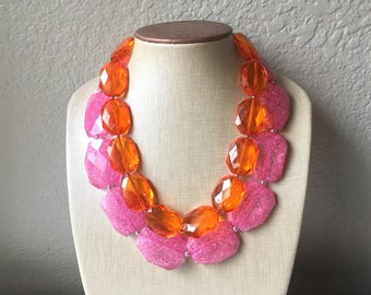 Pink & Orange Necklace, multi strand jewelry, big beaded chunky statement necklace, pink necklace, bridesmaid necklace, orange necklace