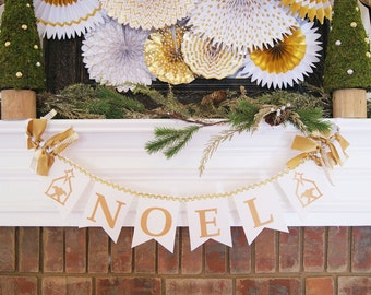 CHRISTMAS BANNER in white and gold / Noel banner / Christmas decor / Merry Christmas banner / Happy Holidays banner / Merry Christmas sign