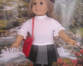 "American Girl 18"" Doll Tartan Kilt Outfit with Wellies and Accessories."