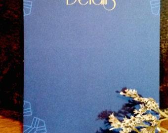 Modern Gatsby details card-Blue digital, digital art deco enclosure card, digital blue and gold geometric enclosure card,digital gatsby card