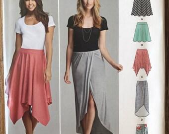 UNCUT Misses' Skirt Sewing Pattern Simplicity 0433 Size 14-16-18-20-22 Modest Skirt, Stretch, Midi Skirt, Maxi Skirt, Mini, Handkerchief Hem
