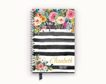 Personalized Planner 2017 Calendar Agenda with Watercolor Floral on Black Stripes